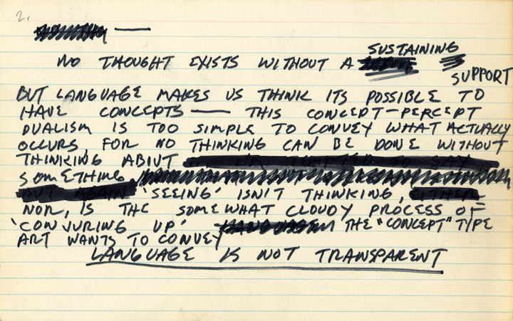 Notecard (No thought exists...), 1969