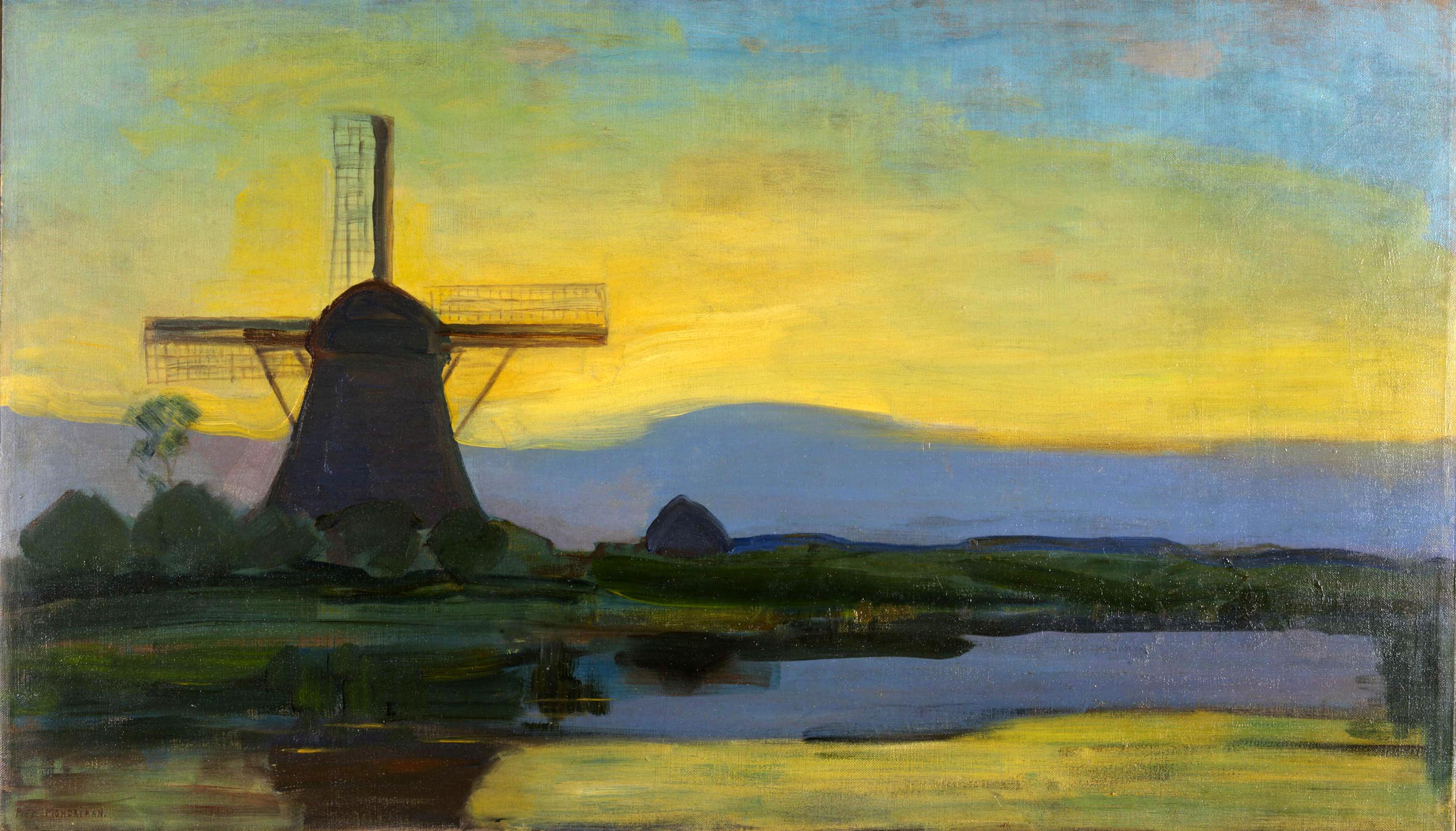 Oostzijde windmill at night *oil on canvas *67,5 x 117,5 cm *signed b.l.: Piet Mondriaan *1907-1908